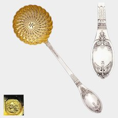 LAPPARRA Antique French Sterling Silver Gold Vermeil Sugar Sifter Spoon, Empire Baron Gerard Pattern
