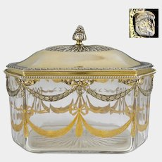 Antique French Sterling Silver Cut Crystal Tea Caddy, Table Box, Neoclassical Motif