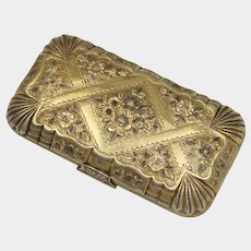 Antique French .800 Silver Gold Vermeil Cheroot or Cigar Case, Ornate Repousse Chased Flowers