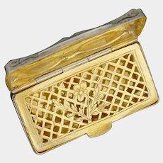 Antique French .800 Silver Vinaigrette Gold Vermeil Grille