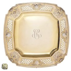 Antique French Sterling Silver Compote Tazza, Gold Vermeil Serving Dish Tray, Scalloped Shell & Pierced Lattice