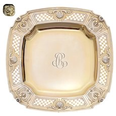 Antique French Sterling Silver Compote Tazza Gold Vermeil Serving Dish Scalloped Shell & Pierced Motif