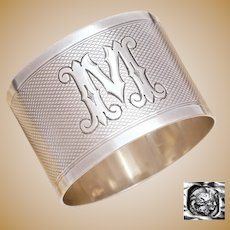 Antique French Sterling Silver Napkin Ring, Letter M Initial, Guilloche Engraving