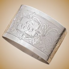Antique Belle Epoque French Sterling Silver Napkin Ring, Ornate Floral Guilloche Engraved Decoration