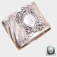 Antique French Sterling Silver Napkin Ring, Ornate Louis XVI/Rococo Swirled & Floral Cartouche
