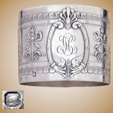 Antique French Sterling Silver Napkin Ring Empire Neoclassical Motif Winged Torches