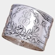 Antique French Sterling Silver Napkin Ring, Ornate Louis XVI/Rococo Torch & Arrows, Flowers
