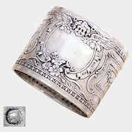 Antique French .800 Silver Repousse Napkin Ring, Charming Cherub Motif
