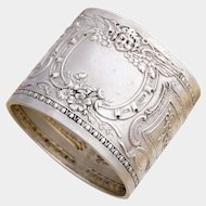 Antique French .800 Silver Repousse Napkin Ring, Ornate Winged Cherub Motif