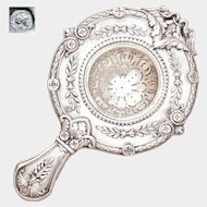 Antique French .800 Silver Ornate Repousse Over the Cup Tea Strainer, Empire Swan Motif