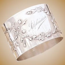 Antique French Sterling Silver Napkin Ring Art Nouveau Thistle Pattern