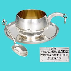 Antique French Sterling Silver Cup & Saucer, Spoon by Tallois & Mayence, Tea Coffee Set