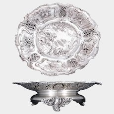 Antique French Sterling Silver Footed Compote Repousse Cherubs & Pierced Lattice, Centerpiece Tray
