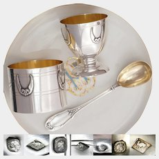 French Sterling Silver Breakfast Set, Napkin Ring, Egg Cup & Spoon, Empire Swan Motif