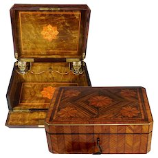 Antique French Napoleon III era Kingwood Veneer Parquetry Inlay Glove Box / Perfume Bottle Caddy