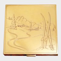 Art Deco French 18K Gold & Silver Rubies Jeweled Lady's Purse Powder Compact Mirror, Skis Snow Mountains Winter Wonderland Scene
