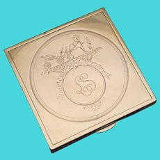 HERMES Paris French 18K Gold & Silver Jeweled Compact Mirror, Ruby Gems, Horse & Carriage Logo