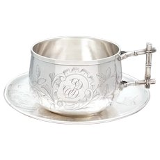 Antique French Sterling Silver Coffee / Tea Cup & Saucer, Engraved Floral & Bird