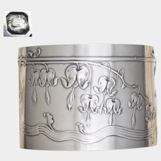 Antique French Sterling Silver Napkin Ring Art Nouveau Bleeding Heart Flowers