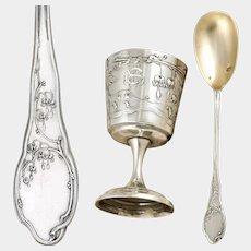 Antique French Sterling Silver Egg Cup & Spoon Breakfast Set, Art Nouveau Bleeding Heart Flowers