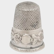 Antique French .800 Silver Sewing Thimble, Applied Flowers
