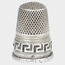 Antique French .800 Silver Sewing Thimble, Greek Key Design
