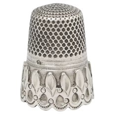 Antique French .800 Silver Sewing Thimble, Ornate Applied Decoration