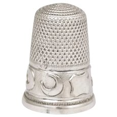 Antique French .800 Silver Sewing Thimble, Crescent Moons