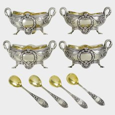 Antique French Sterling Silver SWAN Empire Open Salt Cellars, Spoons, 4pc Boxed Set, Gold Vermeil