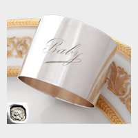 Antique French Sterling Silver Napkin Ring, Engraved 'Baby'