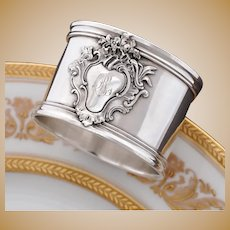 Puiforcat Antique French Sterling Silver Napkin Ring, Rococo Motif
