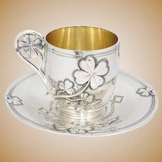 Antique French Sterling Silver Coffee Tea Cup & Saucer Set, Shamrock Clover Art Nouveau