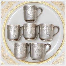 6 Antique French Sterling Silver Liquor Cordials Cups Mugs Set, Vodka, Liqueur, Cognac