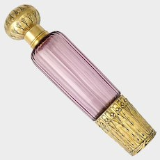 Antique French .800 Silver & Gold Vermeil Purple Cut Glass Liquor Flask, Traveling / Opera Spirits Bottle