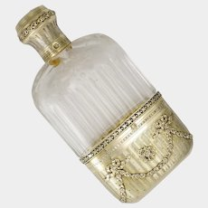 Ornate Antique French Sterling Silver Cut Glass Engraved Liquor Whisky Hip Flask