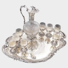 Antique French Sterling Silver Cut Crystal Liquor Service, Dragon Figural Decanter, Goblets & Tray