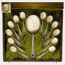 Antique French Sterling Silver Gilt Vermeil Ice Cream Dessert Spoon Set