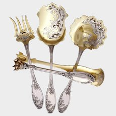Antique Art Nouveau French Sterling Silver Hors d'Oeuvre / Dessert Set, Thistle Pattern