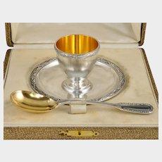 Antique French Sterling Silver Egg Cup & Spoon Breakfast Set, Puiforcat Suffren Pattern