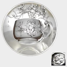 Antique French Sterling Silver Demitasse Cup & Saucer, Thistle Pattern, Teacup Tea/Coffee/Moka
