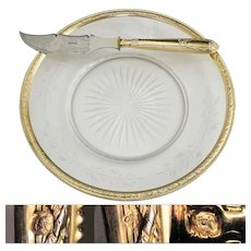 French Sterling Silver Gold Vermeil Knife & Cut Glass Dish Plate Boxed Set, Cheese / Dessert