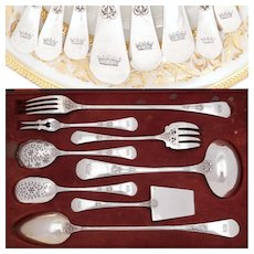 Antique French Sterling Silver 8pc Dessert / Hors d'Oeuvre Set, Heraldic Crown