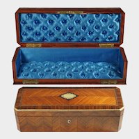Antique French Napoleon III Kingwood Marquetry Brass Inlay Glove Jewelry Box