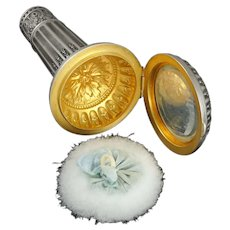 Antique French .800 Silver Hidden Compact Mirror & Parasol / Umbrella Handle Set, or Dress Cane Handle, Original Box