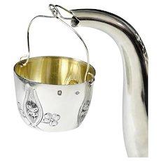 Antique French Sterling Silver Tea Strainer, In the Spout Tea Basket, Art Nouveau Clover Motif
