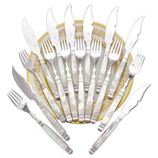 Antique French Sterling Silver & Mother of Pearl 16pc Fish Flatware Set