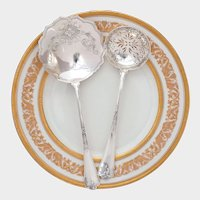 PUIFORCAT Antique French Sterling Silver FER DE LANCE Strawberry Server & Sugar Sifter Spoon Set