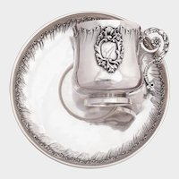 PUIFORCAT Antique French Sterling Silver Cup & Saucer