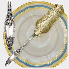 PUIFORCAT Antique French Sterling Silver Gold Vermeil Louis XVI / Acanthe (Acanthus) Dessert / Pie / Cake Server, Boxed