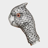 Antique French .800 Silver Dress Cane or Parasol Handle, Parrot Bird Head, Glass Eyes